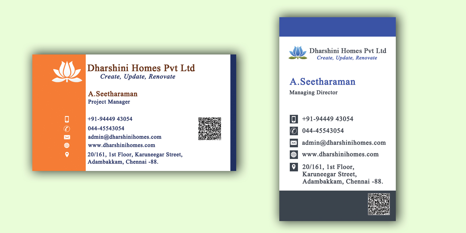 Fine business card design company mold business card ideas business card design for dharshini homes reheart Image collections